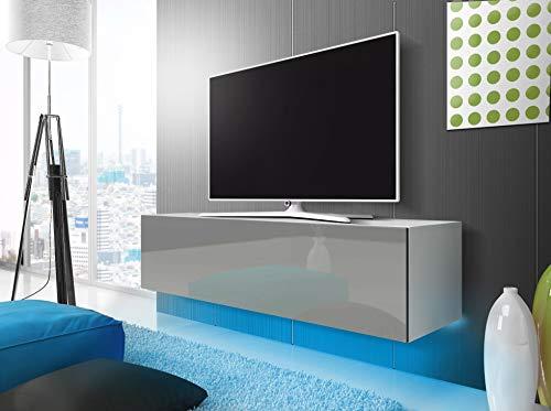 TV Schrank Lowboard Hängeboard Simple mit LED Blau (Weiß Matt/Grau Hochglanz 160 cm)
