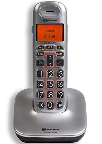 Teléfono inalámbrico amplificado para personas mayores Timbre extra fuerte 80 Db Volumen alto 30 Db con botón de impulso Audífonos compatibles con manos libres Teclas grandes con retroiluminación