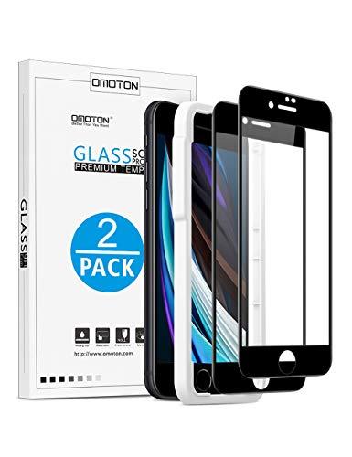 OMOTON [2 Stück] Panzerglas für Neu Apple iPhone SE 2020, Schutzfolie für iPhone SE 2 mit Rahmen [Anti-Kratzen], [Anti-Öl], [Anti-Bläschen], [4,7 Zoll], [3D Vollständige Abdeckung]