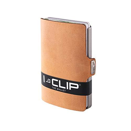 I-CLIP ® Portafoglio Soft-Touch Caramello, Metallic-Grey (Disponibile in 8 Versioni)