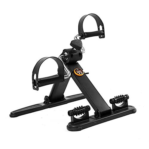 HULLSI Mini Cyclette, Bicicletta Pieghevole sotto La Scrivania con Display LCD per L'allenamento del Braccio delle Gambe, Pedaliera con Cinghia di Fissaggio per La Riabilitazione E L'esercizio