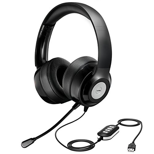 Vtin Pro USB Headsets, 3.5mm Stereo Computer Headset with Flexible Noise Canceling Microphone, Comfort-Fit On Ear Wired Business Headsets for Skype/Call Center/PC/School