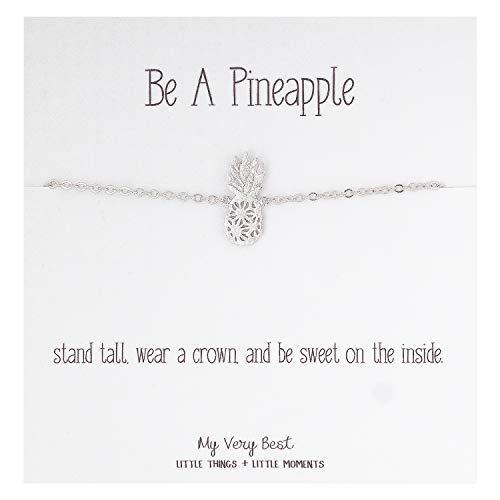 My Very Best Dainty Pineapple Bracelet Be A Pineapple_Stand Tall. wear a Crown, and be Sweet on The Inside. (Silver Plated Brass)