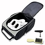 KYTAI Golf Shoes Bag Travel Sports Shoe Case with Golf Shoes Spike Wrench Club Brush for Golf Tennis and Other Accessories (Black-Silver)