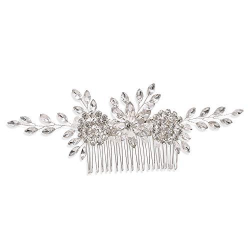 TOPQUEEN Tocado para novia, accesorio para el pelo, accesorio para bodas, plateado...