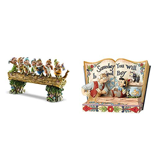 Disney Traditions Seven Dwarfs Homeward Bound Figurine & Disney Traditions Someday You Will Be A Real Boy - Storybook Pinocchio Figurine