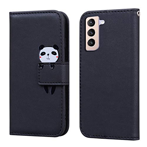 FMPC Custodia in Pelle Compatibile Samsung Galaxy S21 Plus, Flip Libro Caso PU Portafoglio Magnetica Porta Carta [Kickstand] Cover Smartphone di Colore Nero Cartoon Cute Panda