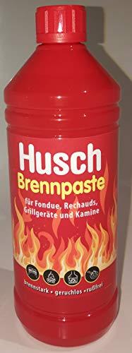 Husch Brennpaste 1L/1000ML für Fondue, Rechauds, Grillkamine und Kamine **Brennstark ** geruchlos ** Russfrei **