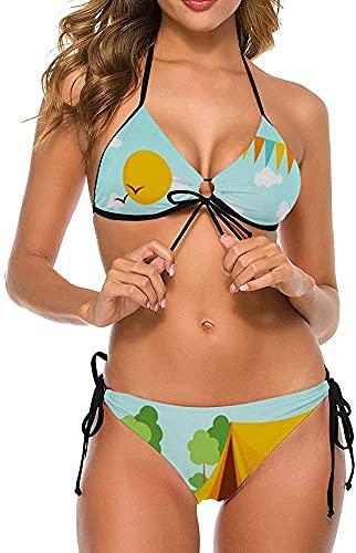 Damen stilvolle sexy Bikini Set Zweiteilige Halfter Summer Beach Badeanzüge-Sonntag Zelt Camper, 2XL
