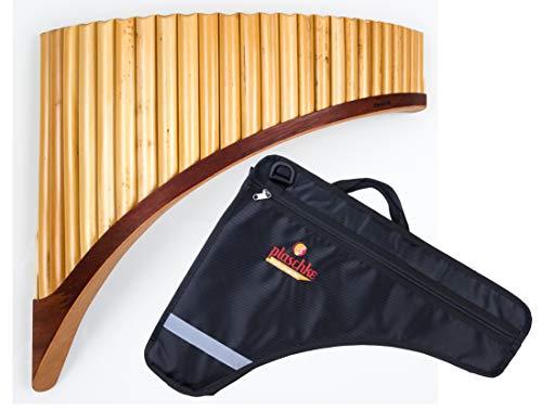Panflöte aus Bambus, Indianische Flöte, rumänische Bauart, Profi-Flöte 25 Tönen/Rohren in C-Dur mit hochwertigen Holzschuh im SET mit TASCHE, für Anfänger und Fortgeschrittene, handgemacht, handmade von Plaschke Instruments aus Südtirol/Italien