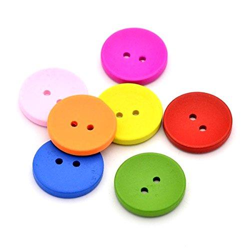 100 botones de madera de 15 mm, varios colores, para manualidades y costura