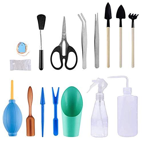 TIREOW 16PCS Mini Garden Planting Saftiges Miniatur Transplantationswerkzeug Set mit Wasserflasche, Luftstaubgebläse, Eimerschaufel, Schere, Pinzette und Eimerschaufel