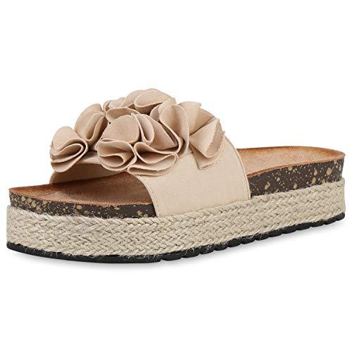 SCARPE VITA Damen Pantoletten Plateau Sandaletten Kork-Optik Sandalen Bast Schuhe Volants Sommer Plateauschuhe 190521 Creme Creme 36