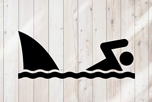 43LenaJon Adhesivo de vinilo para ventana de natación, señal de advertencia de aleta de tiburón, adhesivo impermeable para coche