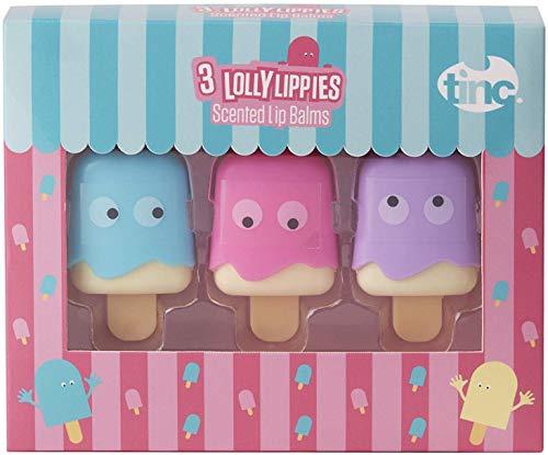 Tinc - Set di 3 balsami per labbra per bambini, a forma di ghiacciolo, 3 gusti (caramelle, vaniglia e rosa), per idratare le labbra, perfetto per le f
