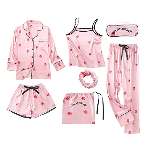 Nachtwäsche Damen Set 7pcs, Morgenmantel Damen Satin Leicht Schlafanzug Pyjama Soft Lounge Sets für Sommer Herbst Frühling
