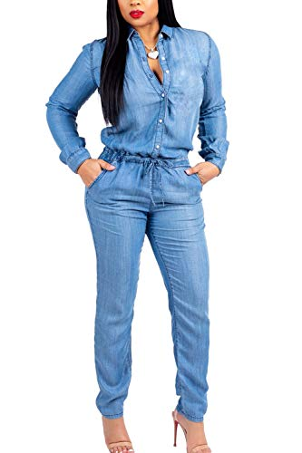 nobrand Casual Jumpsuit für Damen Langarm-Button-Down-Jeans-Strampler Overall Blue S.