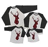 7 ate 9 Apparel Matching Family Christmas Shirts - Plaid Deer Grey Shirt 12 Months