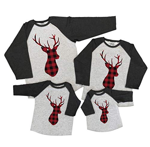 7 ate 9 Apparel Matching Family Christmas Shirts - Plaid Deer Grey Shirt Men's Large