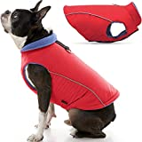 Gooby Sports Dog Vest - Red, Large - Fleece Lined Dog Jacket Coat with D Ring Leash - Reflective Vest Small Dog Sweater, Hook and Loop Closure - Dog Clothes for Small Dogs Indoor and Outdoor Use