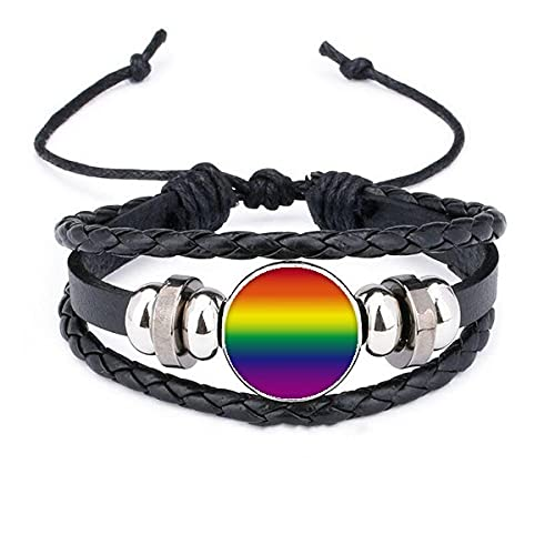 ZFAYFMA LGBT - Collar con colgante de acero inoxidable con bandera de arco iris, ideal para collares de parejas lesbianas y gays, Large