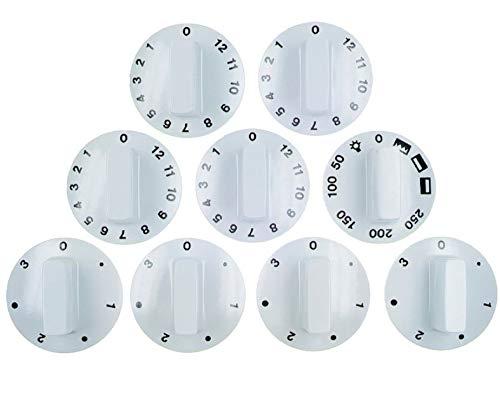 Knebelset 9-teilig für Backöfen Ø 52 mm weiß