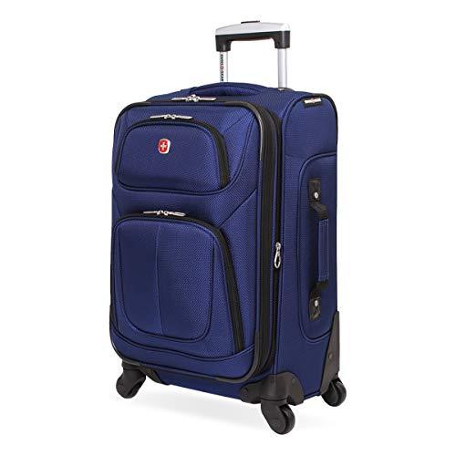 SwissGear Sion Softside Luggage with Spinner Wheels Blue CarryOn 21Inch