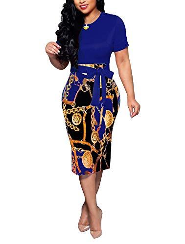 Women' Short Sleeve Bodycon Dress -Cute Bowknot Floral Pencil Dress Large Blue