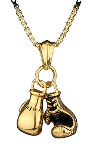 Plus Nao(プラスナオ) ネックレス ペンダント 首飾り ボクシンググローブ チェーン メンズ アクセサリー ファッション小物 個性的 おしゃれ - ゴールド