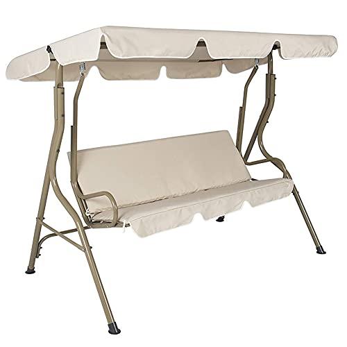 KAIMO Hollywoodschaukel, 3-Sitzer, Rattan-Hollywoodschaukel, mit verstellbarem Baldachin, Aluminium-Rahmen, Hängemattenersatz, mehrfarbig