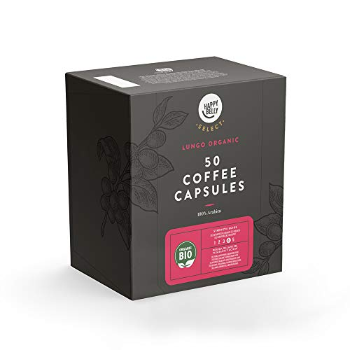 Amazon-Marke: Happy Belly Select Geeignet für Nespresso* Maschinen - UTZ-zertifiziert, 100 (2x50) Kaffeekapseln - Bio Lungo