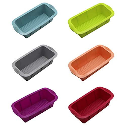 6Pcs Silicone Bread Loaf Pan, Non-stick Toast Loaf Moulds, Rectangle Pastry Baking Molds, Cake Bread Pan Baking Mold for Oven/Microwave Safe (6PC-M)