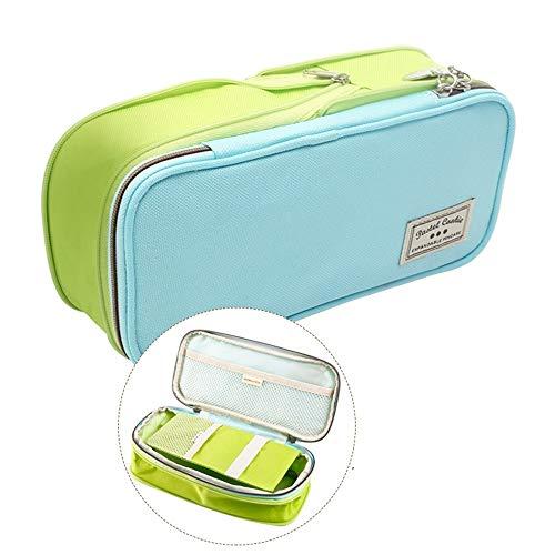 WHOJA Federmäppchen Faltbare Schreibwarenbox Kosmetiktasche Jugendlager Schreibwaren Schulmaterial Mehrere Farben verfügbar Veranstalter (Color : Blue Green)