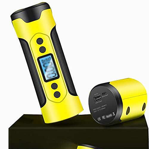 Inflador De Neumáticos Tres En Uno Pantalla Digital Mini Bomba De Neumático De Coche De Barril Recto Compresor De Aire Portátil,Yellow- 22.5 * 5.7cm