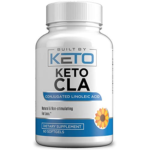 Keto CLA - High Potency, Natural Weight Loss Exercise Supplement, Increase Lean Muscle Mass, Non-Stimulating, 100% Safflower Oil, Conjugated Linoleic Acid by Built By Keto - 60 Softgels