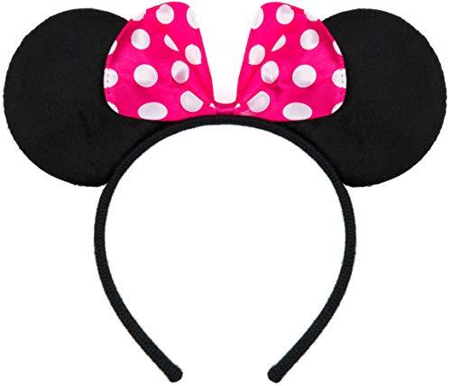 Balinco Haarreifen in schwarz mit Maus Ohren Mouse mit Schleife in pink mit weißen Punkten für Kinder & Erwachsene