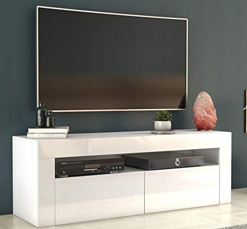 Megaastore TV Lowboard Board 140cm Möbel Schrank Weiss Hochglanz Fernsehtisch | 45(H) x 140(B) x 40(T) cm
