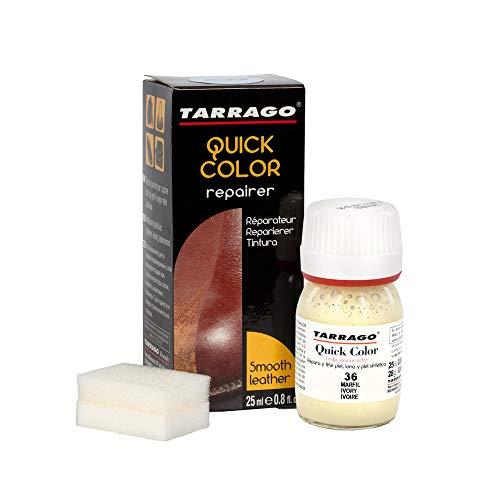 Tarrago | Quick Color 25 ml | Tinte Para Zapatos y Accesorios de Piel, Cuero Liso y Lona | Tintura de Secado Rápido Que Repara y Protege el Calzado de Pequeños Desgastes (Marfil 36)