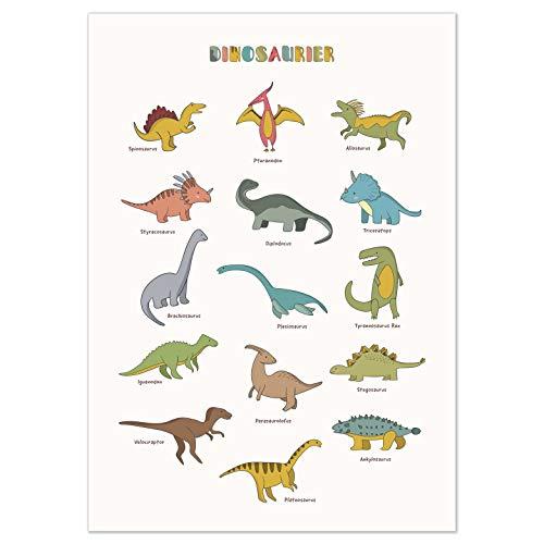 kizibi® Dino Poster für Kinderzimmer, Dinosaurier Poster DIN A2, beliebte Dino Deko für Kinder, Kinderposter für Jungen und Mädchen, Premium Wandposter mit Beschriftung