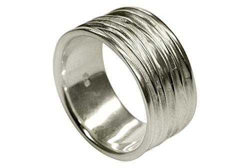 SILBERMOOS Anillo de mujer y/o hombre arrugado estructura arrugada tratado con chorro de arena ancho y brillante Plata esterlina 925, Tamaño del anillo:20