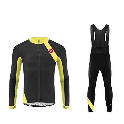 Uglyfrog Conjunto de Ropa de Ciclismo - Jersey de Manga Larga y Zip Completo+ Pantalones de Acolchado 3D Cómodo Respirable Secado Rápido - Ropa Deportivo para Bicicleta de Montaña CXML06