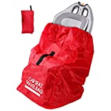 SCEHAO Car Seat Travel Bag,Universal Size Gate Check Bag with Pouch for Air Travel,Fits Booster Seats,Convertible Car Seats and Infant Carriers (Red)