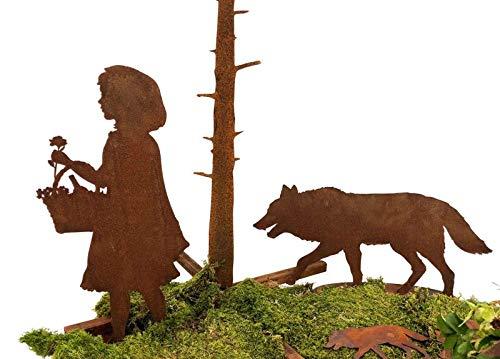 itsisa ® Dekofigur Rotkäppchen und der Böse Wolf im Rost Design, 2er Set, Rostfigur für den Garten