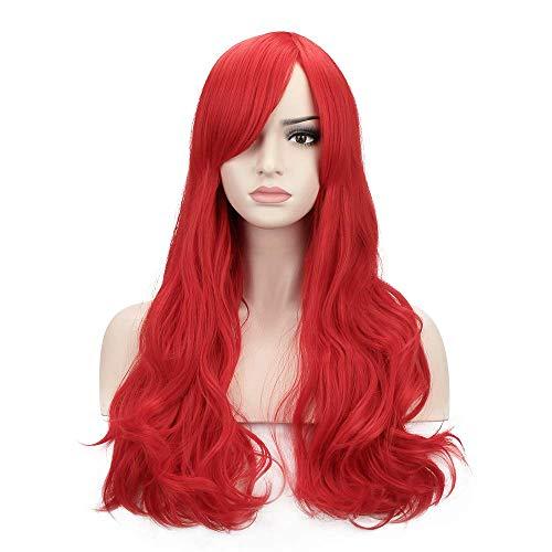 YOPO Wig Red Women's Long Big Wav…