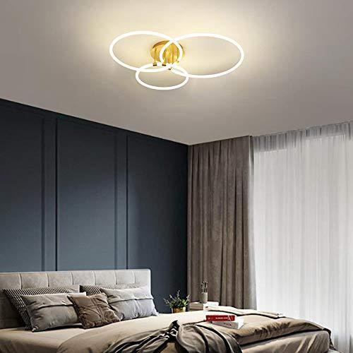 LED 75W Ring Sala Lámpara de Techo Regulable Dorado Moderno Diseño Aluminio Luz de Techo para Dormitorio Sala de Estudio Restaurante, Tubo de luz de Acrílico, L88CM