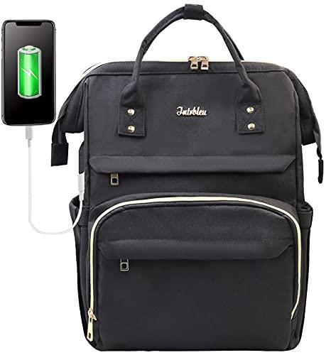 Intrbleu Laptop Backpack Women Teacher Backpack Nurse Bags, 17.3 Inch Work Backpack Womens Fashion Backpack Purse Waterproof Travel Backpack, Anti-theft, Luggage Strap, USB Charging Port(Black)