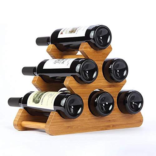 OYYO Holzfass Weinregal Holz Flaschenhalter Tischplatte 6 Flaschen H25.5cm