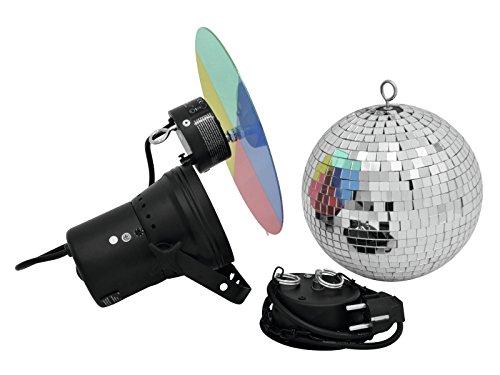 showking Discokugel Set Night Fever mit Pinspot, Farbscheibe, Zubehör, Ø 20cm, Silber - Spiegelkugel mit Punktstrahler/Disco Effekt für Ü30...