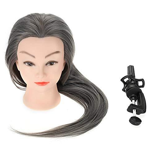 Testa per Parrucchieri, 66cm Capelli Umani di Formazione Parrucchiere Pratica Testa Studio Manichino Professionale con Morsetto Stand