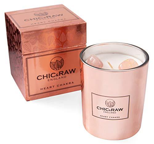 2 Piedras de Cuarzo Rosa Puro t/é Blanco y aceites Esenciales de Jengibre Caja de Regalo Chic /& Raw Vela perfumada en Oro Rosa Cera de Soja Natural